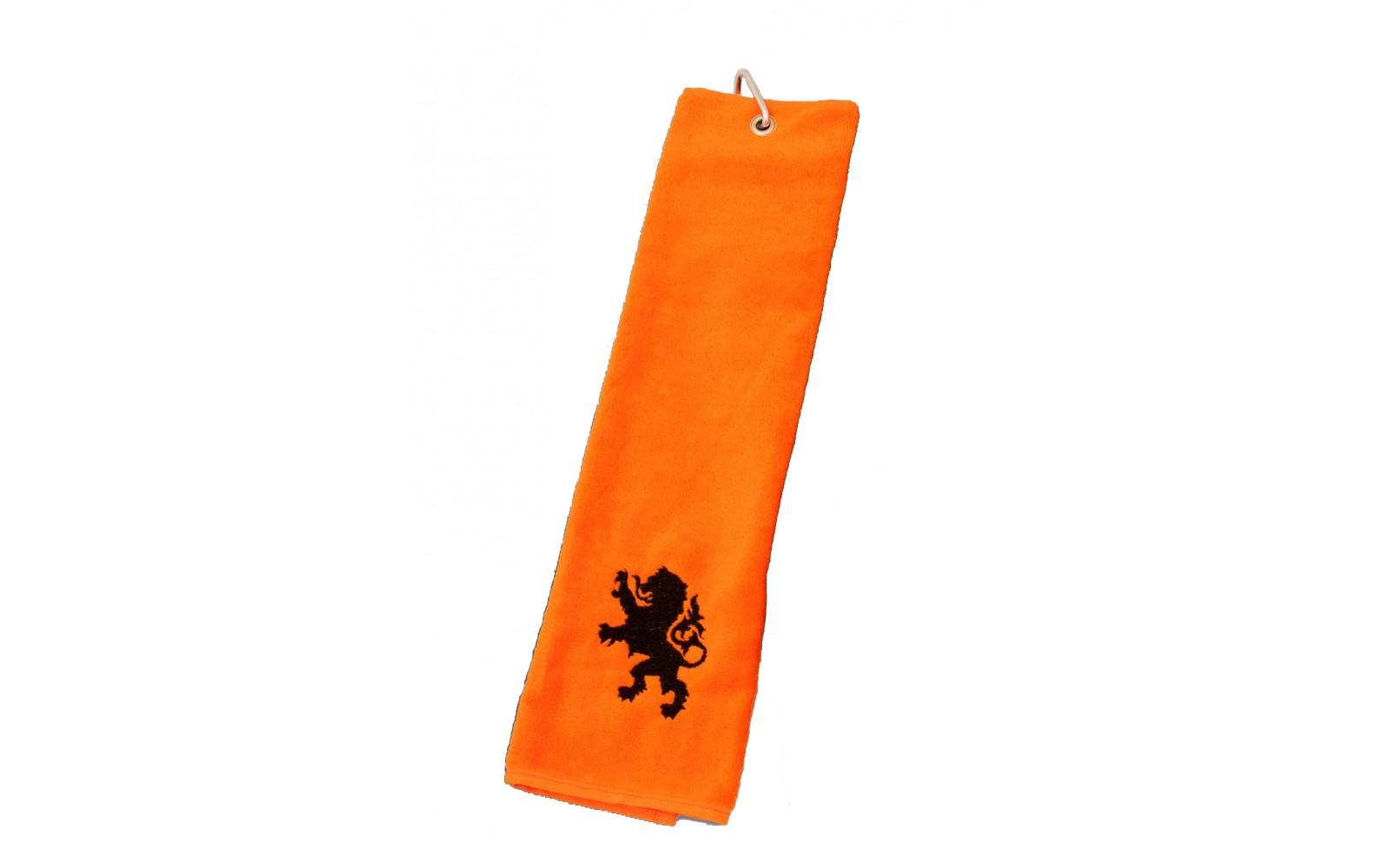 Oranje Golf Handdoek Met Zwart Logo